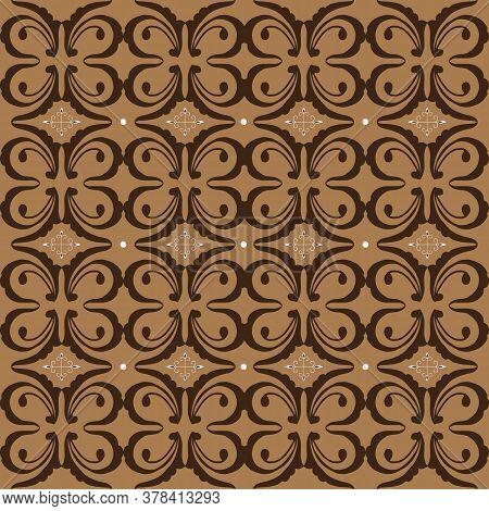 Elegant Flower Pattern In Parang Batik Style With Mocca Color Design.