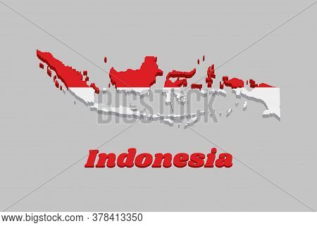 3d Map Outline And Flag Of Indonesia, A Horizontal Bicolor Of Red And White, With Name Text Indonesi
