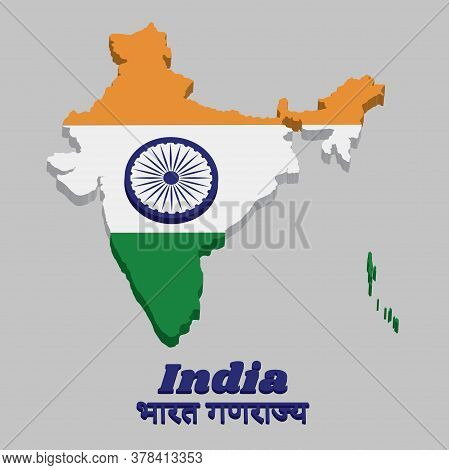 3d Map Outline And Flag Of India, It Is A Horizontal Rectangular Tricolor Of India Saffron, White An