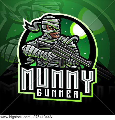 Mummy Gunner Esport Mascot Logo With Teext