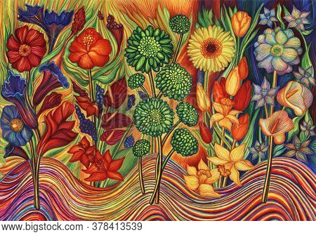 Five Colorful Flowers On Multi-colored Background. Bright Multi-coloured Decorative Fantasy Flowers