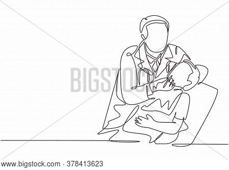One Single Line Drawing Of Young Male Dentist Examine And Pull A Young Boy Tooth Out At Dental Clini