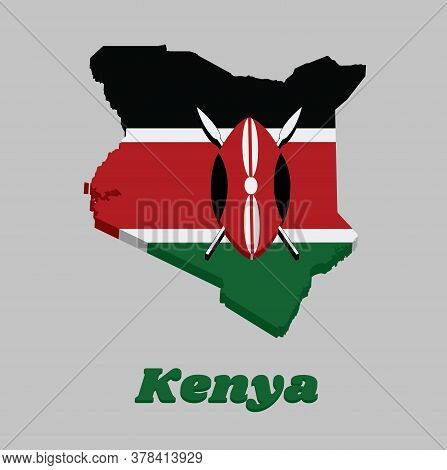 3d Map Outline And Flag Of Kenya, A Horizontal Of Black, White Red, And Green With Two Crossed White