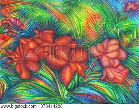 Bright Tropical Floral Red, Pink And Purple Flowers Hibiscus With Colorful Green Foliage On A Vibran