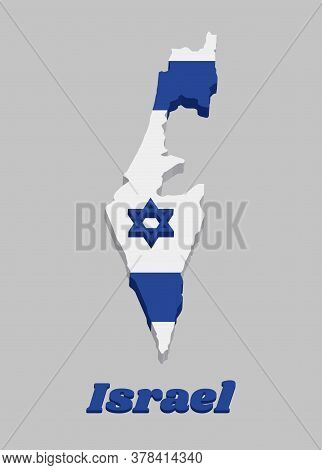 3d Map Outline And Flag Of Israel, It Depicts A Blue Hexagram On A White Background, Between Two Hor