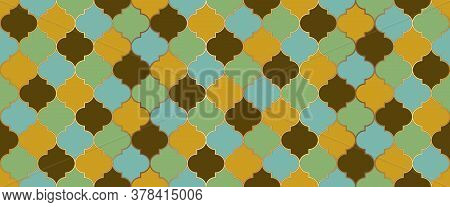 Traditional Ramadan Golden Mosque Grid. Moroccan Seamless Design Ramadan Kareem Islam Background. Ot
