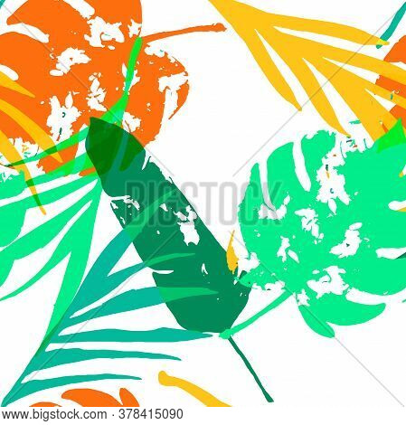 Palm, Banana Leaves Vector Seamless Pattern, Orange Green Vivid Exotic Floral Fabric Design.  Cool C