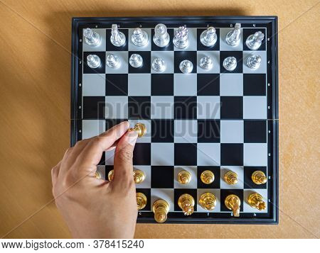 Top View Of Chess Game On Chessboard. Business Game Competitive Strategy. Concept Of Strategic For B
