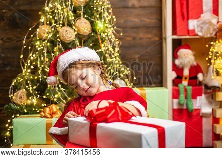 Gift Emotions. Christmas Kids - Happiness Concept. Winter Kid. New Year Concept. Happy Child With Ch