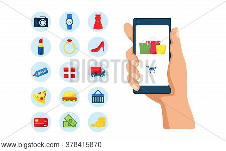 Online Shopping On Mobile Phone Application With 15 Icons Objects Set. Vector Concept Marketing And