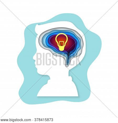 Smart Kids Or Children With Bulb Inside The Brain As A Symbol Of Creative Thinking Idea. Concept For