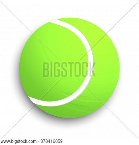 Tennis Ball. Vector Illustration Of A Tennis Green Ball. The Symbol Of The Match At Wimbledon. Stock