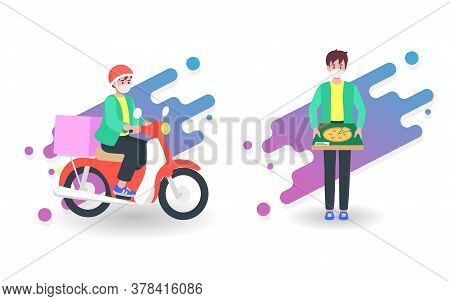 Food Delivery By Courier Man On Motorcycle. Online Service Concept Under Quarantine, Disease Outbrea