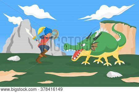 Knight Fighting With Dragon Monster. Vector Illustration For Role Playing Game And Fairly Tale Conce