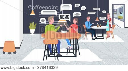Visitors Chatting During Meeting In Cafe People Discussing Daily News Chat Bubble Communication Conc
