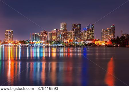 Miami Skyscrapers At The Night, South Beach. Miami Night Downtown, City Florida