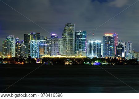 Miami Business District, Lights And Reflections Of The City Lights. Miami, Florida, Usa Skyline On B