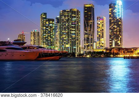 Miami Night Downtown. Miami South Beach Street View With Water Reflections At Night