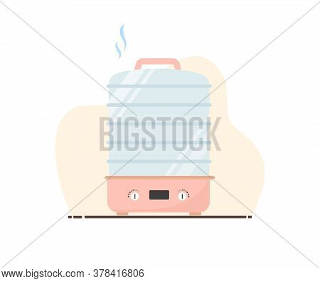 Electric Food Dehydrator Or Dryer Machine. Healthy Diet Concept. Flat Vector Illustration In Cartoon