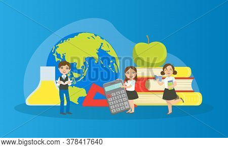 Kids Studying With Huge School Supplies, Schoolchildren At Geography Lesson Vector Illustration