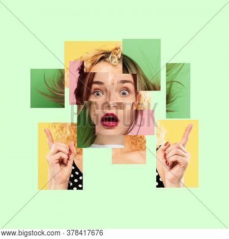 Surreal Portrait Of Woman Made Of Different Pieces Of Photos. Art Collage. Mirror Effect Face. Thoug