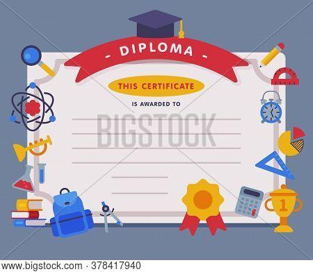 School Diploma Template, Appreciation Of School Children Achievement Flat Vector Illustration