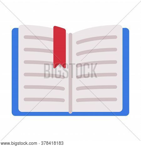 Open Book With Bookmark Flat Style Vector Illustration I On White Background