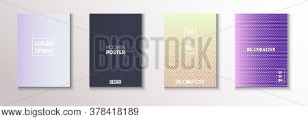 Folded Minimal Cover Vector Set. Cool Technology Wallpaper. 80s Neon Music Poster. Textured Gradient