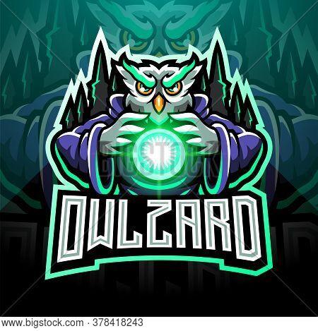 Owl Wizard Esport Mascot Logo With Text