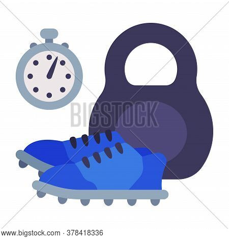 Stopwatch, Sneakers And Kettlebell, School Sports Equipment Flat Style Vector Illustration On White