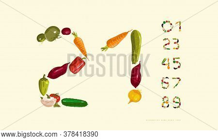Decorative Numerals Set Out From Vegetables. Color Print On White Background
