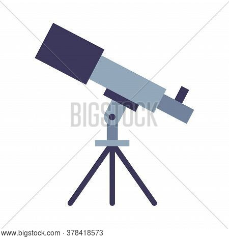 Telescope, Education And Astronomy Science Equipment Flat Style Vector Illustration On White Backgro