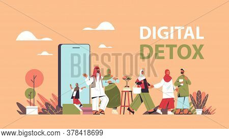 Arabic People Coming Out Of Cellphone Screen Vacatin Adventure Digital Detox Concept Abandoning Inte
