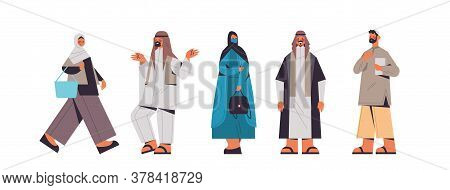 Set Arabic People In Traditional Clothes Arab Men Women Standing Pose Male Female Cartoon Characters