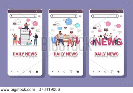 Set Mix Race People Reading Newspapers And Discussing Daily News Chat Bubble Communication Concept S