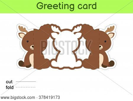 Cute Moose Fold-a-long Greeting Card Template. Great For Birthdays, Baby Showers, Themed Parties. Pr