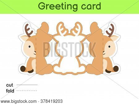 Cute Deer Fold-a-long Greeting Card Template. Great For Birthdays, Baby Showers, Themed Parties. Pri