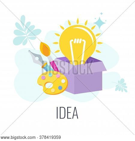 Lamp Pops Out Of The Cardboard Box. Think Outside The Box Creative Idea. Idea To Achieve The Goal, F