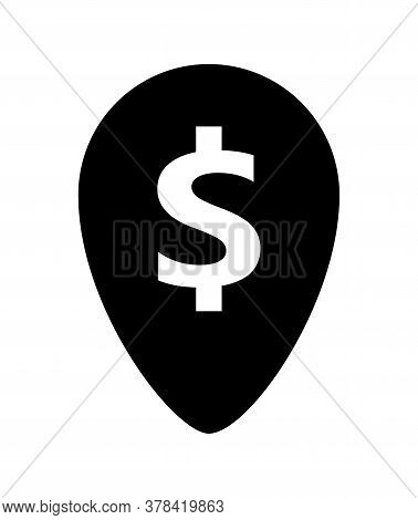 Dollar Currency Symbol In Pin Point For Icon, Dollar Money Black Icon, Dollar Money Symbol In Pointe