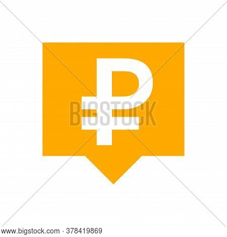 Ruble Currency Symbol In Speech Bubble Square Shape For Icon, Russia Ruble Money For App Symbol, Cur