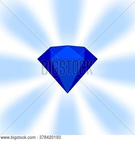 Blue Diamond Gemstone On Zoom Comics, Blue Flat Diamonds Jewelry Icon, Blue Gems On Soft Rays Burst