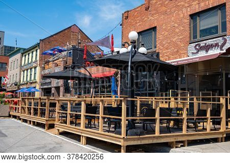Ottawa, Ontario, Canada - 7/7/2020: Restaurants On Clarence Street Of The Byward Market In Ottawa Op