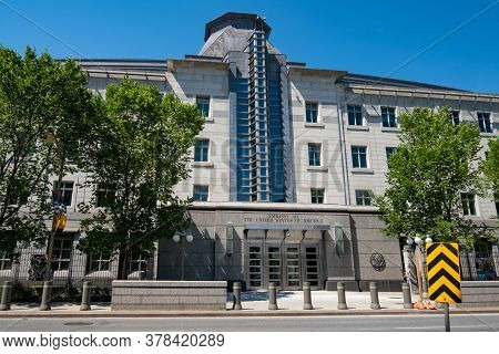 Ottawa, Ontario, Canada - 7/7/2020: The Embassy Of The United States Of America At 490 Sussex Drive