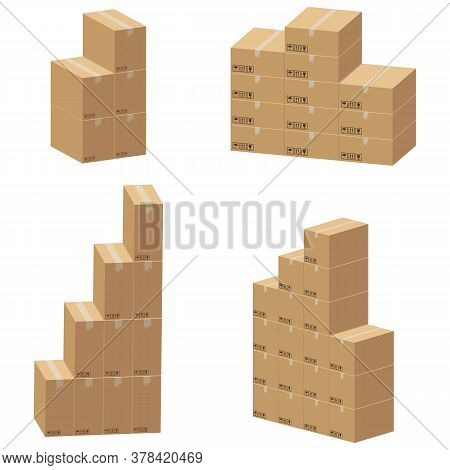Set Of Cardboard Box Mockups Different Size. Isolated On White Background. Vector Carton Packaging B