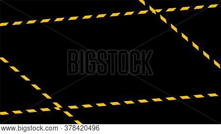 Caution Tape Line On Black Background, Tape Yellow Black Stripe Pattern, Warning Space With Ribbon T