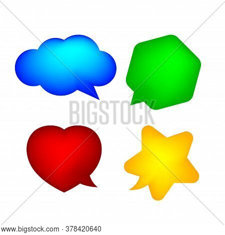 Star Shaped Speech Bubble Yellow, Heart Shaped Speech Bubble Pink, Hexagon Speech Bubble Green, Clou