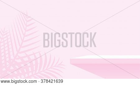 Wood Plank Shelf On Wall Pink Pastel Soft Color, Shelf For Display Show On Space Wall Room, Empty Ta