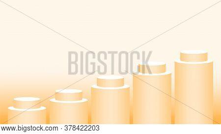 Orange Pedestal Cylinder Circle 5 Steps For Cosmetics Showcase, Podium Circle Stage Orange Soft Past
