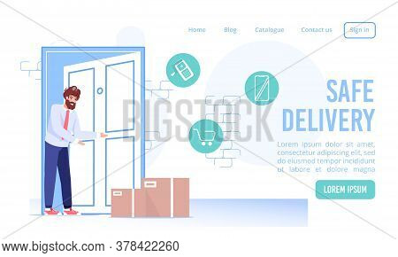 Fast Contactless Safe Delivery Service Landing Page. Cardboard Box Parcel At Doorway. Customer Getti