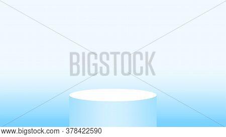 3d Pedestal Cylinder Circle Soft Blue For Cosmetics Showcase, Podium Circle Stage Blue Pastel Soft C